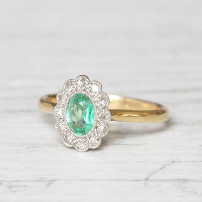 Edwardian Emerald and Single Cut Diamond Cluster