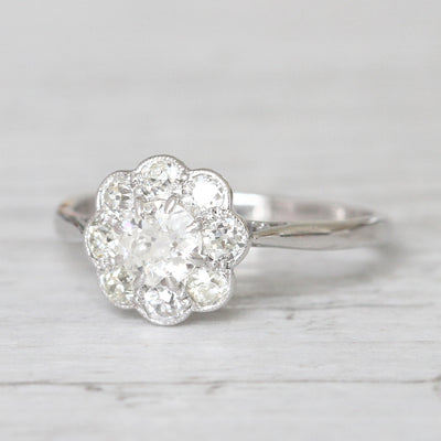 Edwardian 1.20 Carat Old European Cut Diamond Daisy Cluster