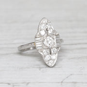 Vintage 1.10 Carat Brilliant and Baguette Cut Diamond Marquise Cluster