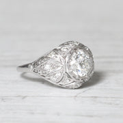 French Art Deco 1.05 Carat Old European Cut Diamond Bombé Ring