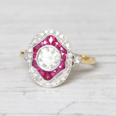 Art Deco Style 0.70 Carat Diamond and Calibré Cut Ruby Target Cluster