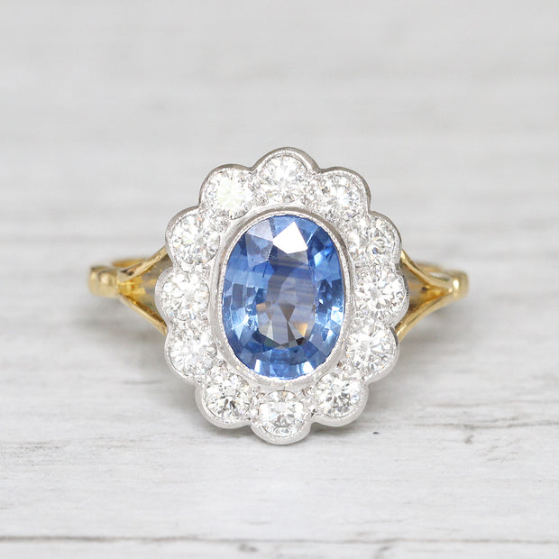 Edwardian Style 1.59 Carat Cornflower Blue Sapphire and Diamond Ring