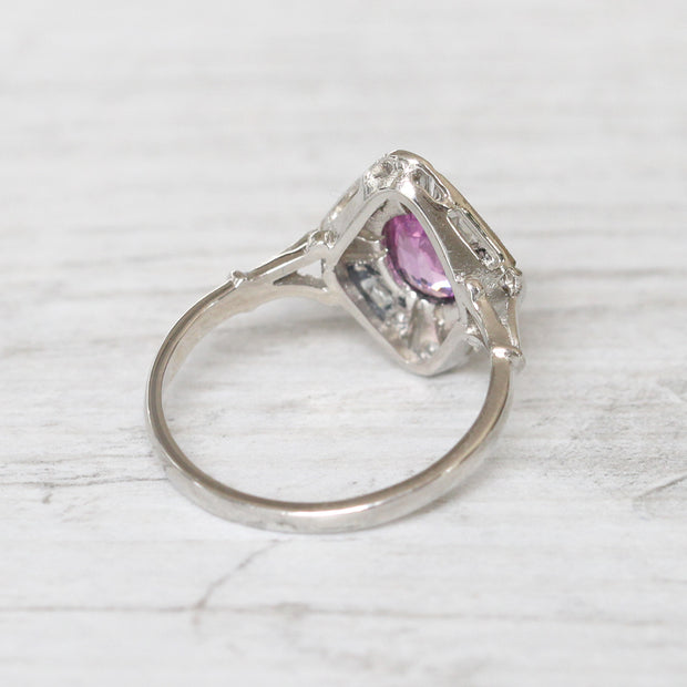 Art Deco Style 0.80 Carat Pink Sapphire and Diamond Cluster