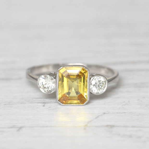 Vintage Style 1.70 Carat Yellow Sapphire and Diamond Three Stone