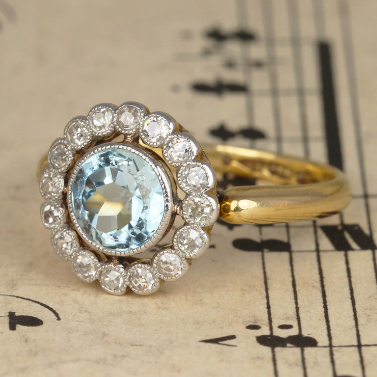 Edwardian Aquamarine and Diamond Cluster Ring