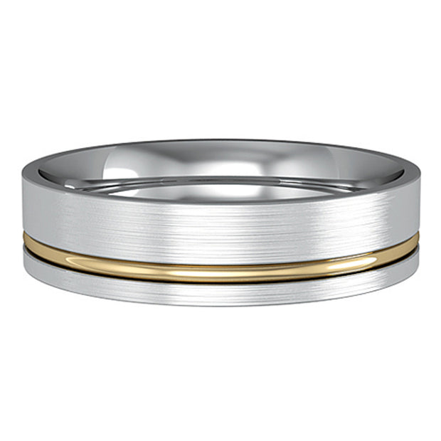 5mm Bi-Colour Flat Court Satin Brushed Wedding Band