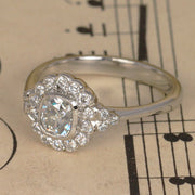 Art Deco Cushion Cut Diamond Halo Engagement Ring