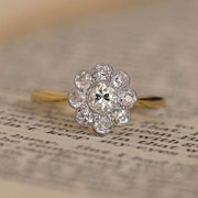 Edwardian Old Cut Diamond Daisy Cluster