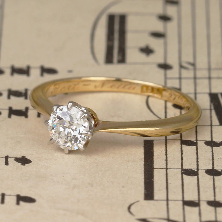 Antique 0.50 Carat Old European Cut Diamond Solitaire