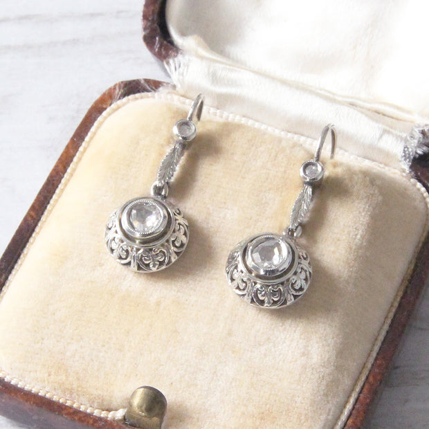 Art Deco Rose Cut Diamond Filigree Drop Earrings