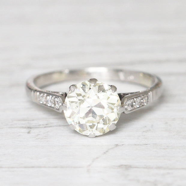 Art Deco 2.15 Carat Old European Cut Diamond Solitaire