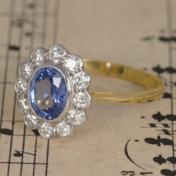 cornflower blue sapphire and diamond cluster ring � holts