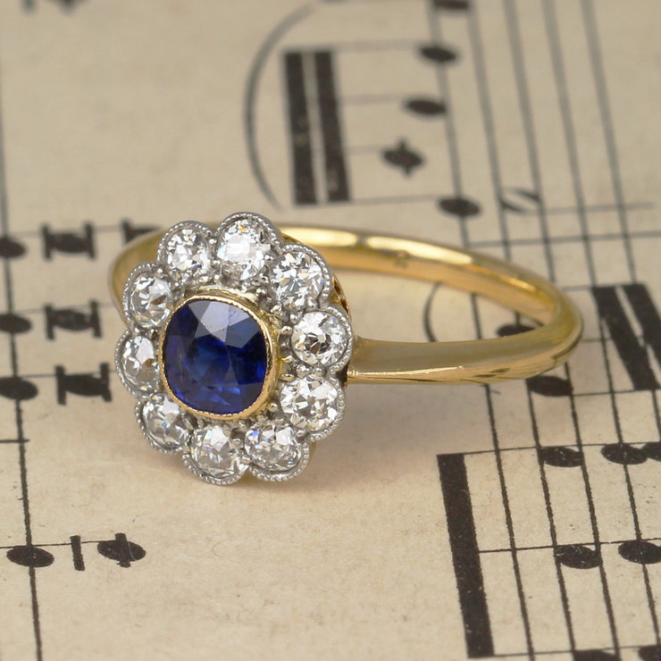 Edwardian Sapphire and Diamond Cluster Engagement Ring