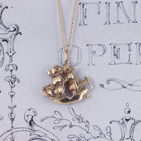 Vintage 9ct Gold Galleon Ship Charm Pendant