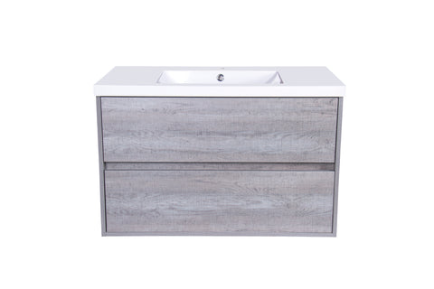 "Front View - OCT2536A-V014, Octavia 36"" Cement Grey Floating Vanity Cabinet Series"