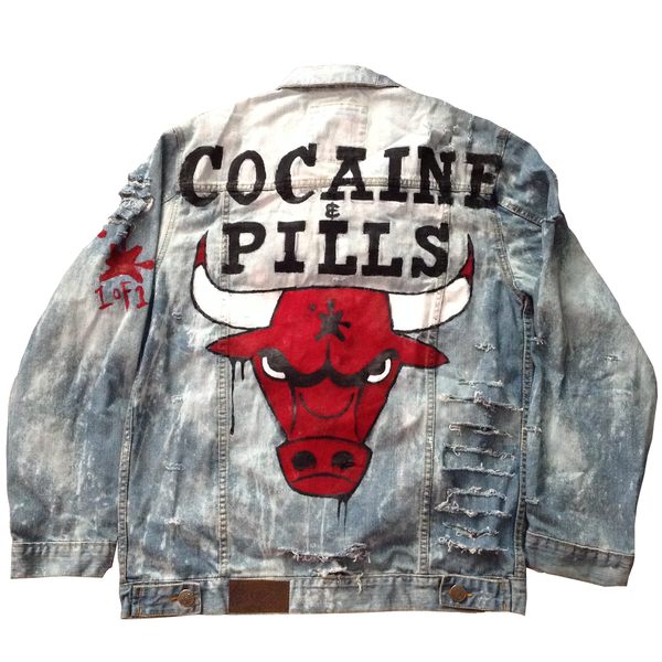 Custom Bull Coke & Pills Jean Jacket - BYN Customs