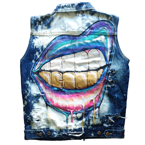 "Custom ""Gold Grills"" Jean Jacket Vest"