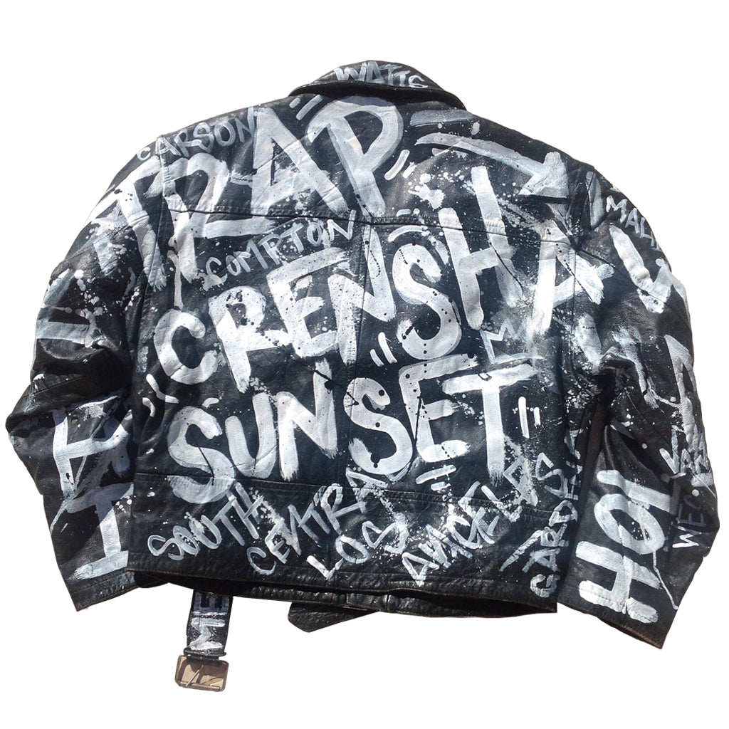 "Custom Painted BYN ""City Graffiti"" Leather Jacket"