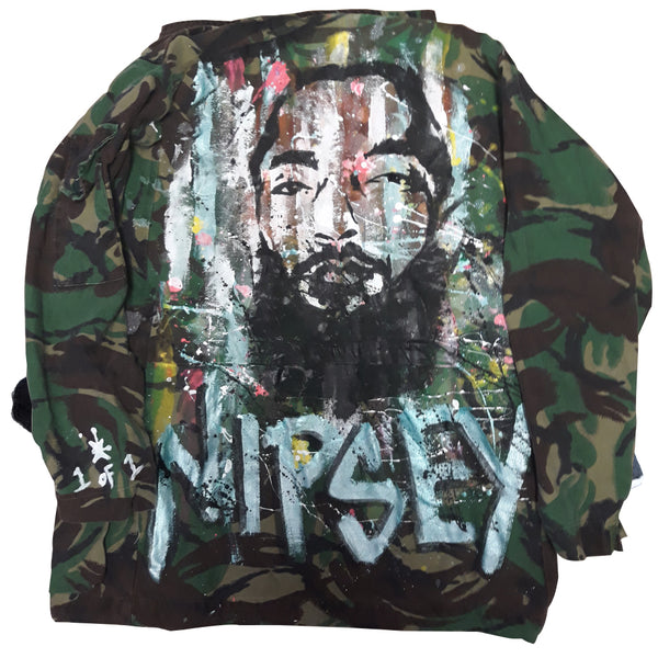 "Custom ""Neighborhood Angel"" Nipsey Hussle Army Jacket"