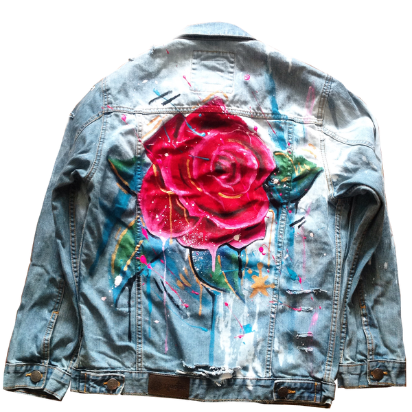 "Custom ""Rose"" Jean Jacket"