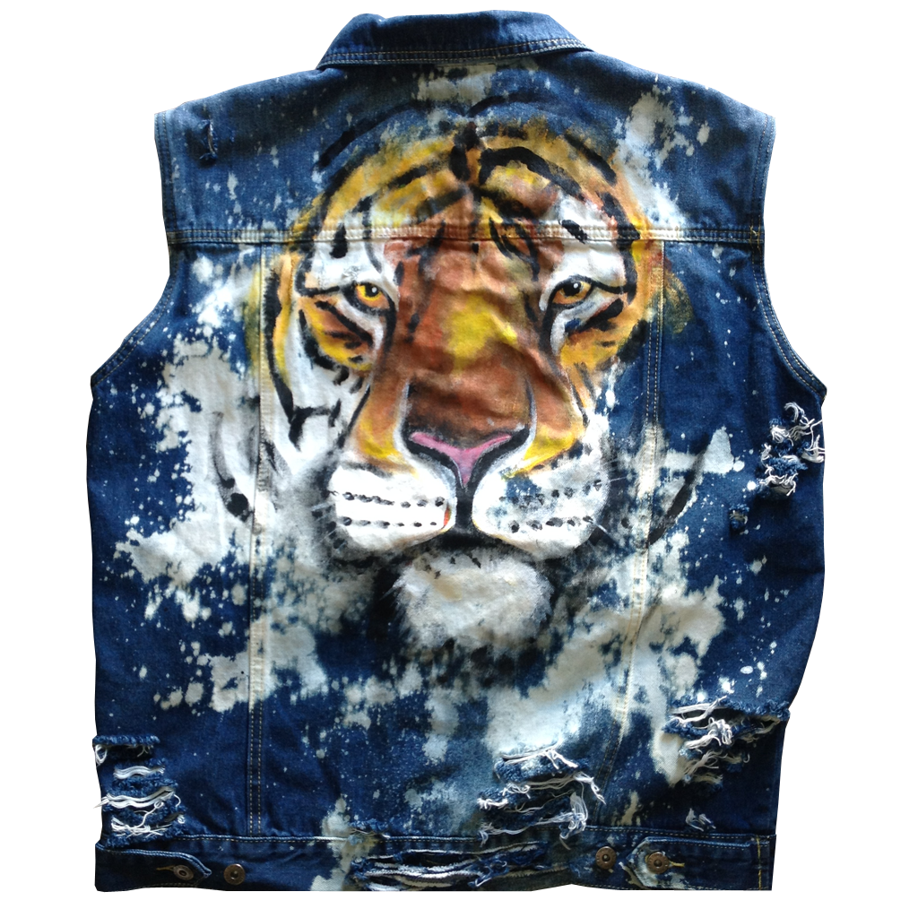 "Custom ""Tiger"" Jean Jacket Vest"