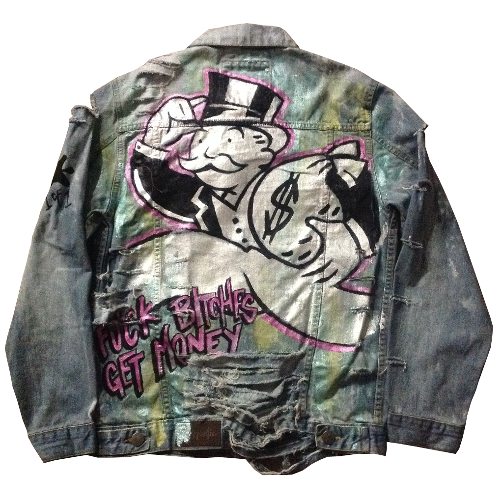 Custom F&%k B!t%#es Get Money Monopoly Man Jean Jacket - BYN Customs