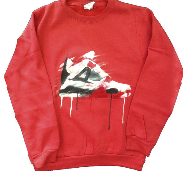 Custom White and Red Jordan 4 Crewneck Sweater - BYN Customs