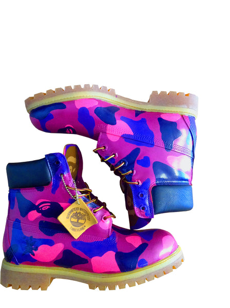 Custom Purple Bape Camo Timberlands | BYN Customs | Side View