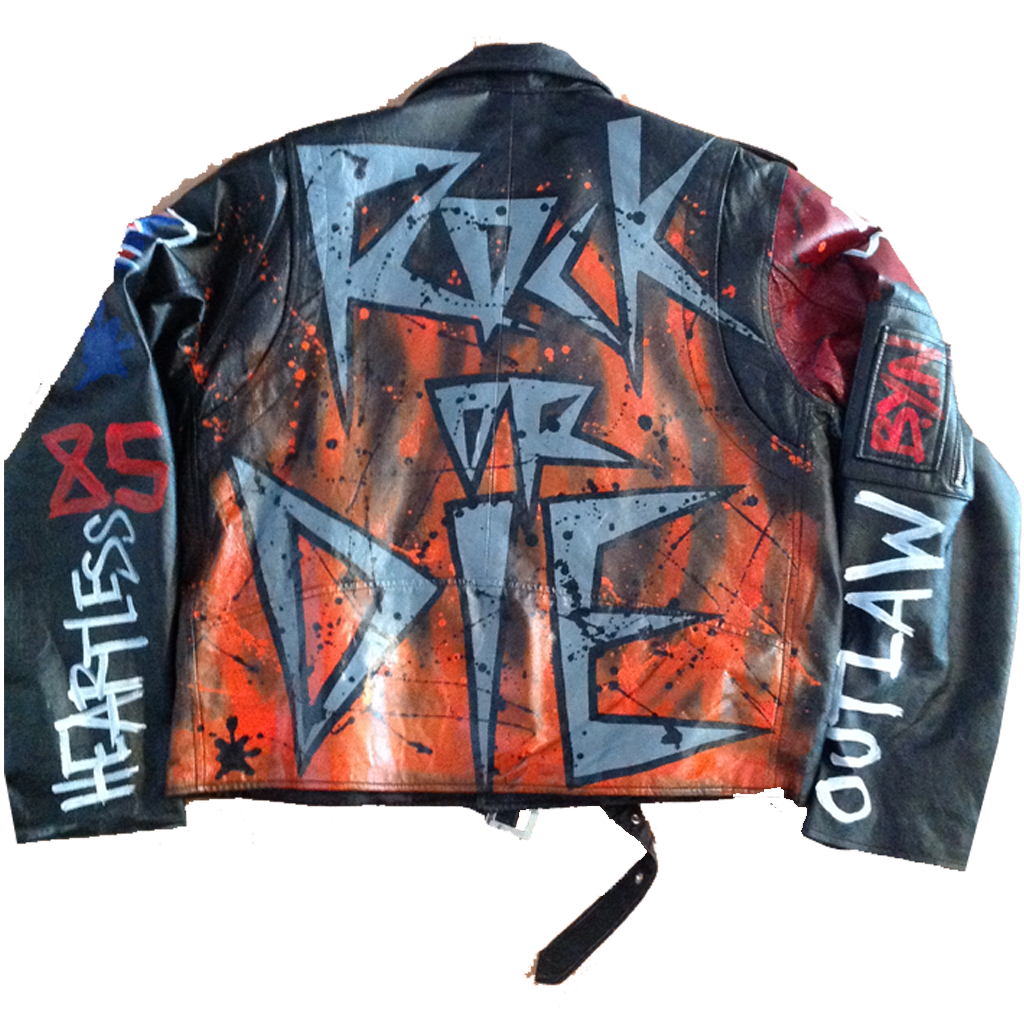 Custom Painted BYN Rock N Roll Leather Jacket - BYN Customs - 2