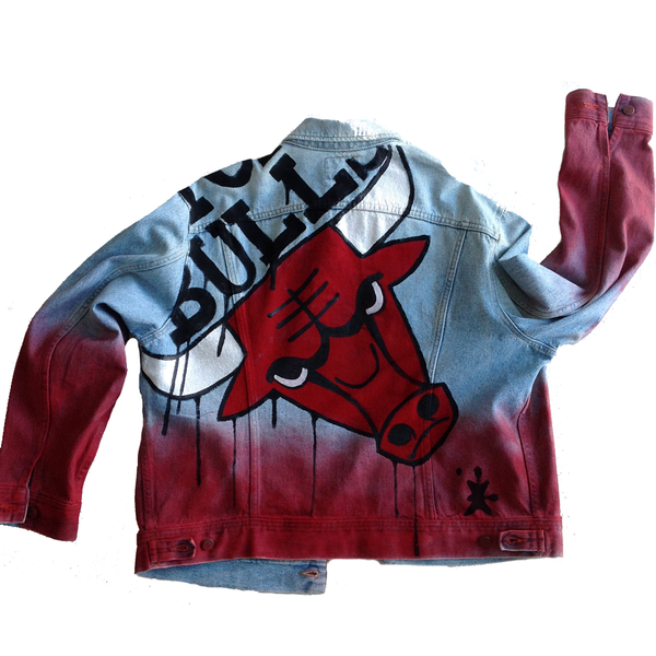 Custom painted Chicago Bulls Jean Jacket - BYN Customs