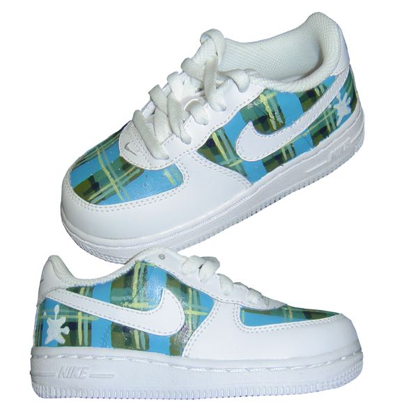 Custom Baby Plaid Air Force Ones - BYN Customs - 1