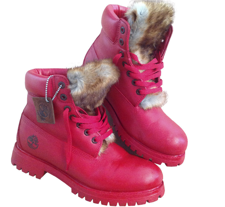 All Red Custom Timberlands - BYN Customs - 1