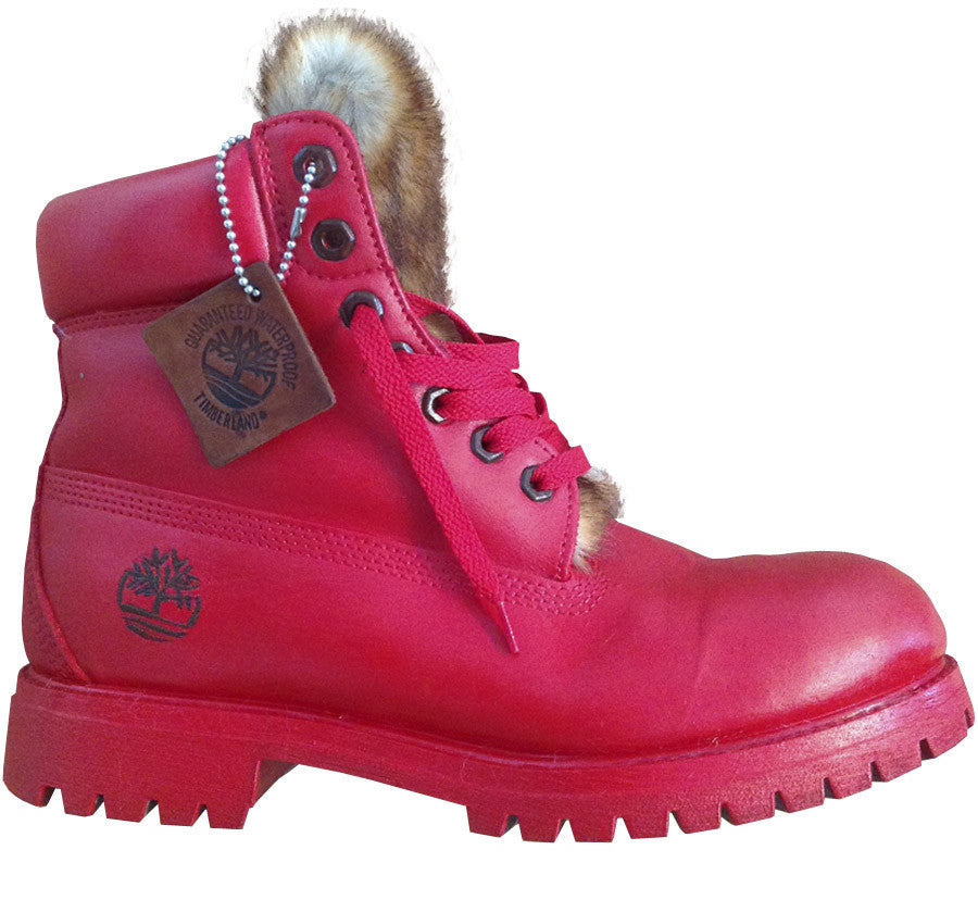 All Red Custom Timberlands - BYN Customs - 2