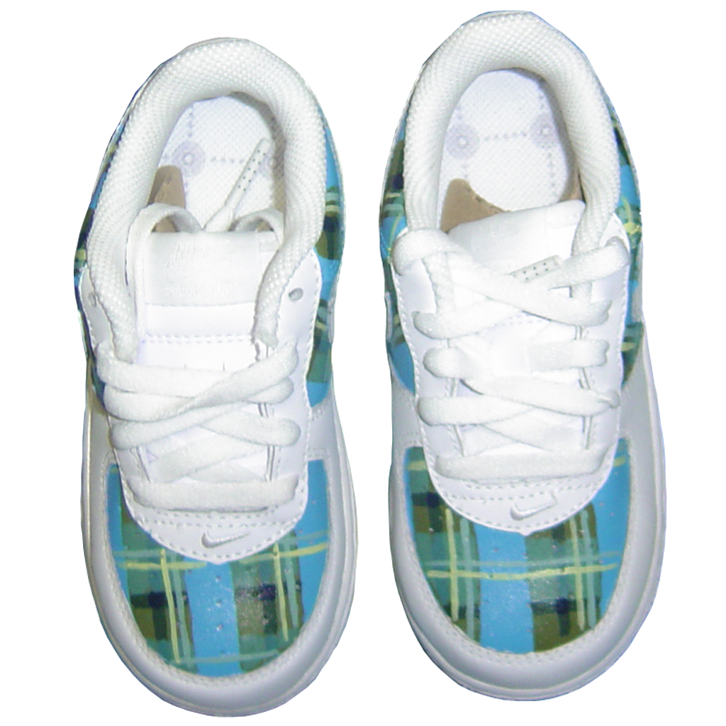 Custom Baby Plaid Air Force Ones - BYN Customs - 2