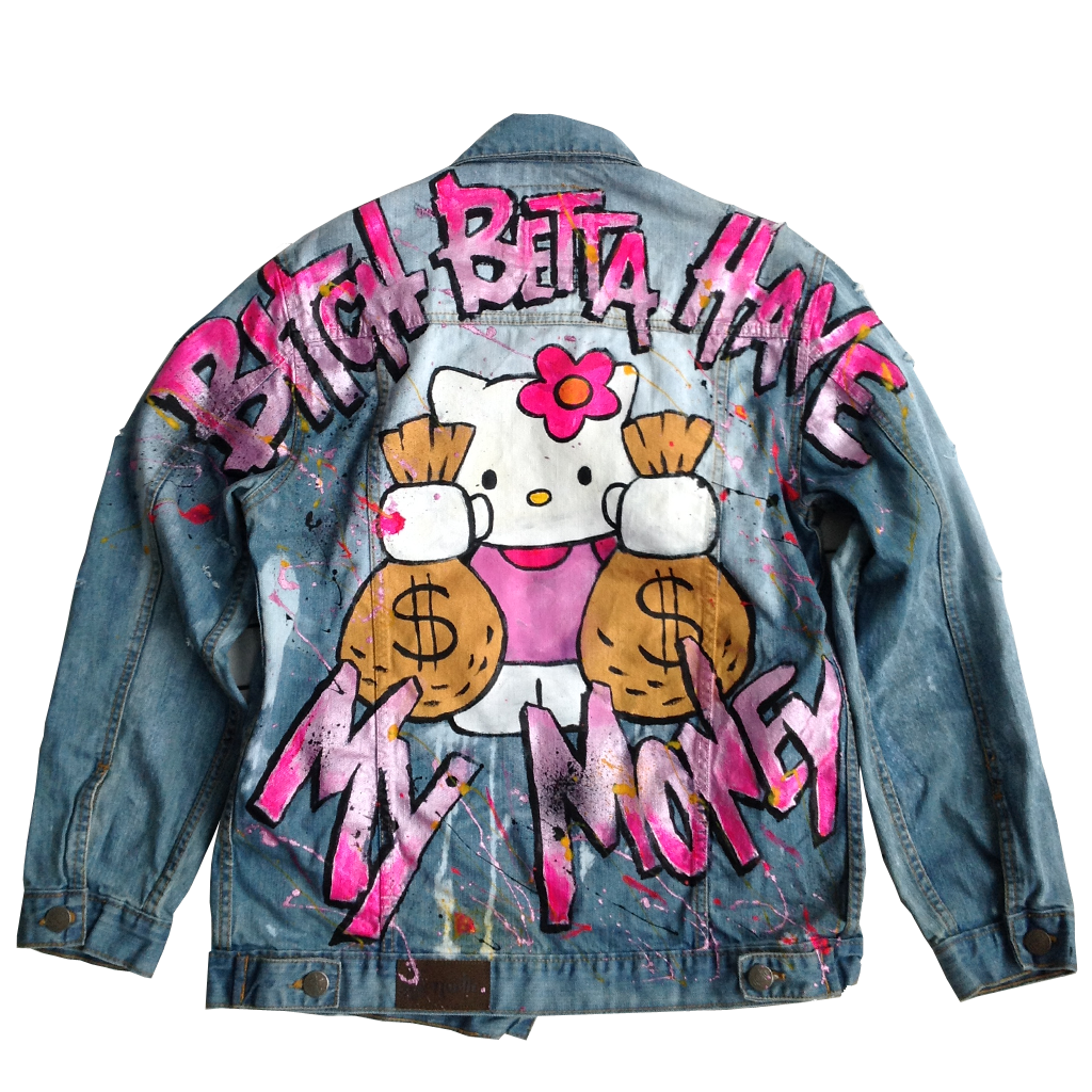 "Custom ""B!tch Betta Have My Money"" Jean Jacket"