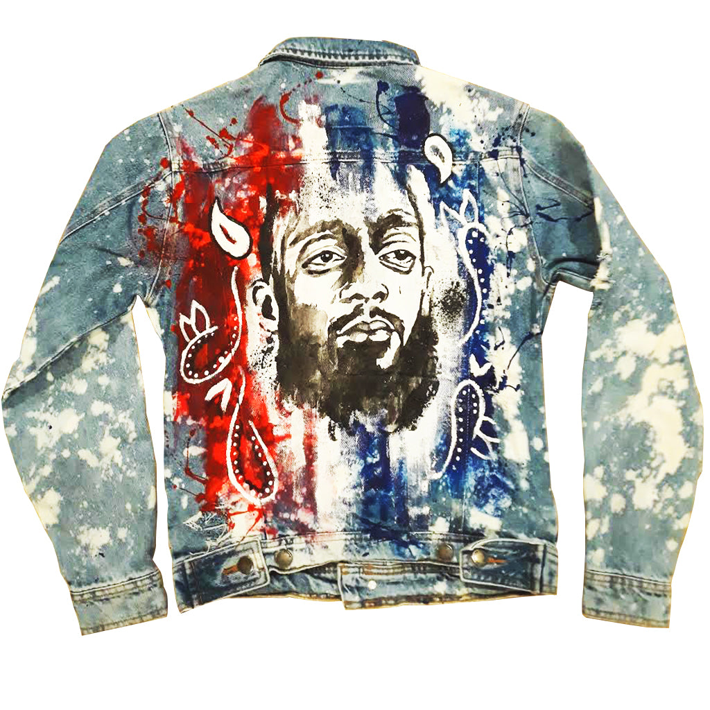 "Custom ""Peace Treaty"" Nipsey Hussle JeanJacket"