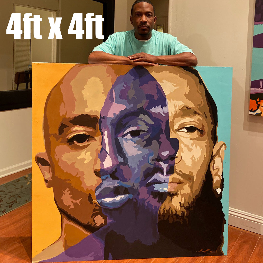 """Two Men One Vision"" 2pac and Nipsey Hussle artwork print"