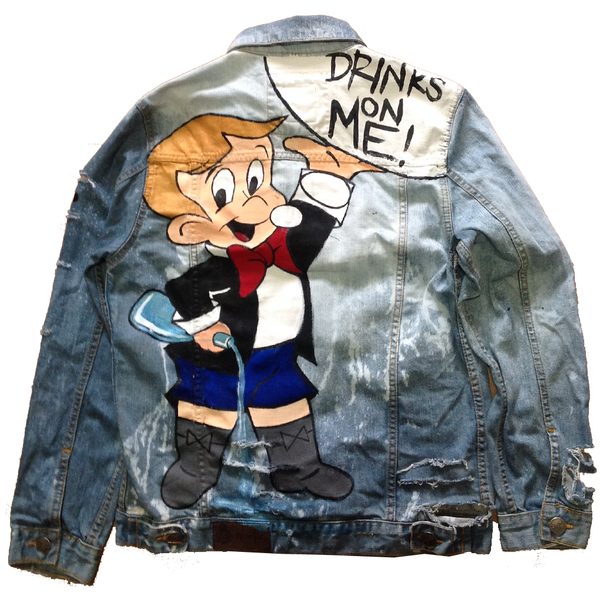 "Custom ""Drinks on Me"" Jean Jacket"