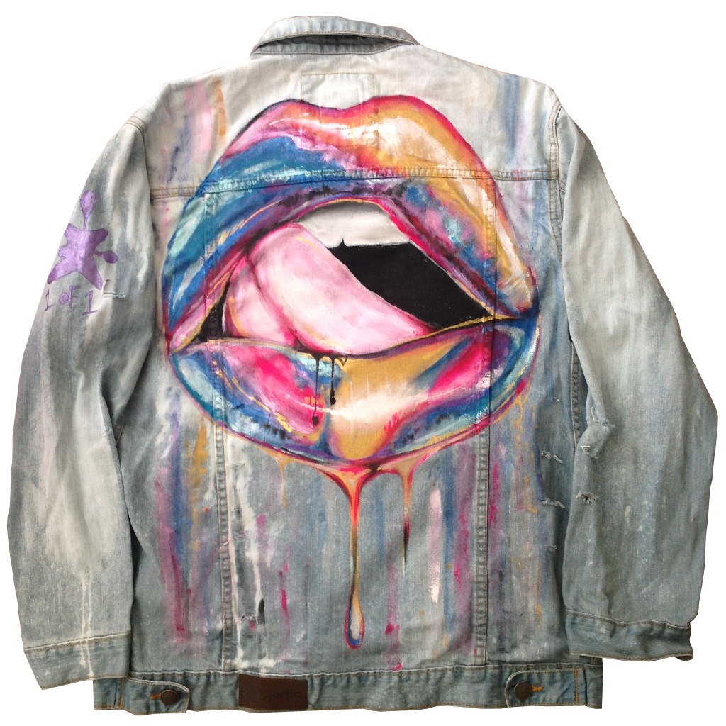 "Custom ""Liquid Tongue"" Jean Jacket"
