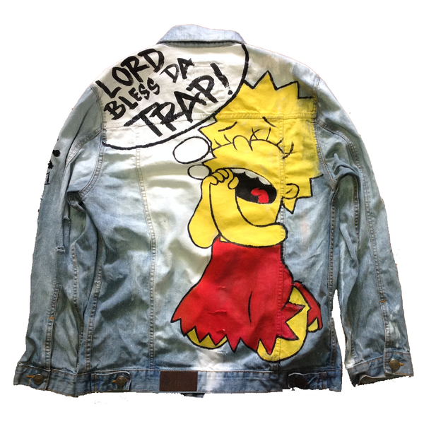 "Custom ""God Bless Da Trap"" Jean Jacket"