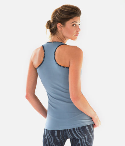 DwellStudio Malakos Racerback Tank, color-blue-mirage