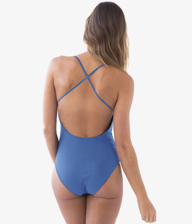 Cross Back One-Piece Swimsuit, color-dazzling-blue