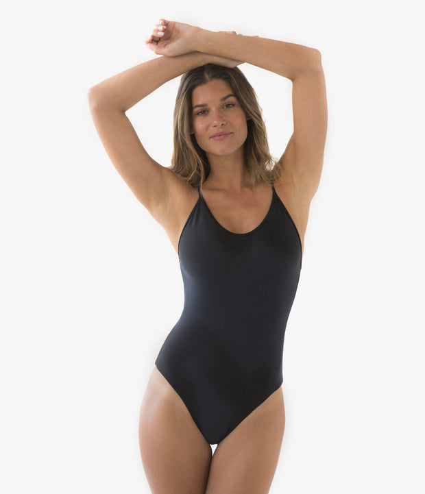 Cross Back One-Piece Swimsuit, color-black