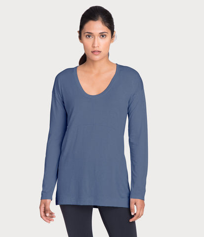 pima deconstructed long sleeve, color-vintage-indigo