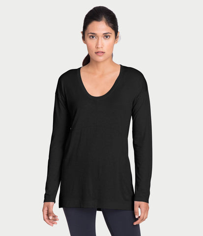 pima deconstructed long sleeve, color-black