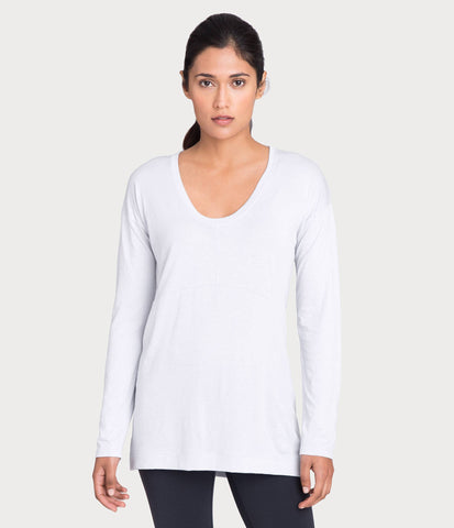pima deconstructed long sleeve, color-white