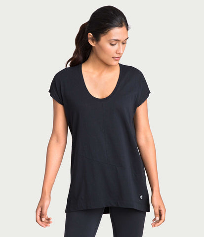 pima deconstructed short sleeve tee, color-black