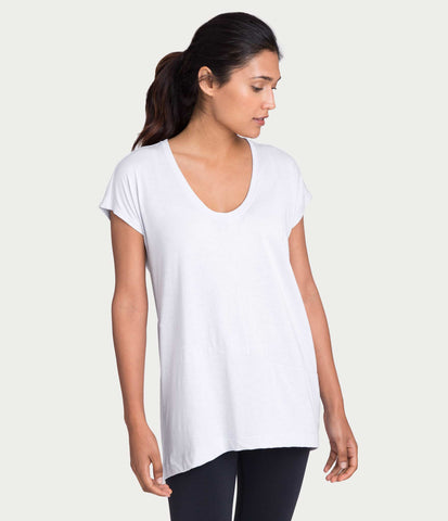 Pima Deconstructed Short Sleeve Tee, color-white