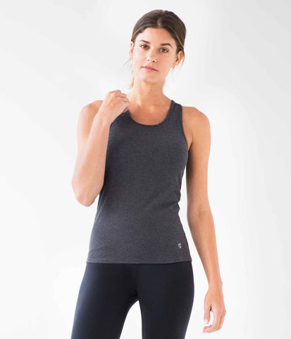 Ribbed Racerback Tank, colour-charcoal