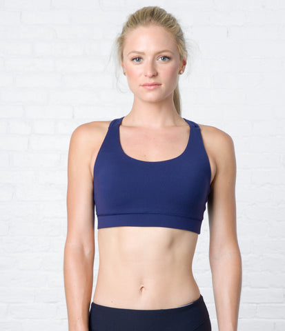 Keyhole Sports Bra, color-peacoat